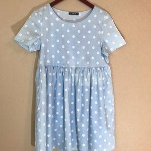 Pale blue w/ white polka dot baby doll dress shein